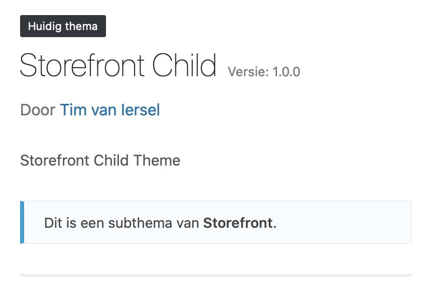 Storefront child theme
