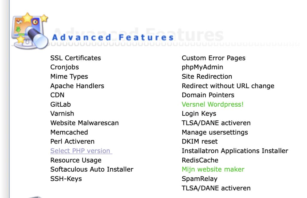Selecteer PHP versie