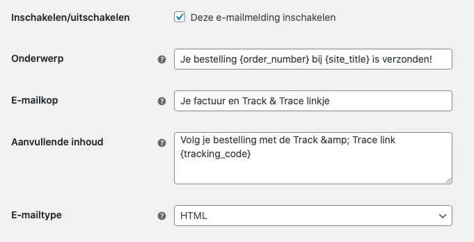 Track & Trace in WooCommerce email