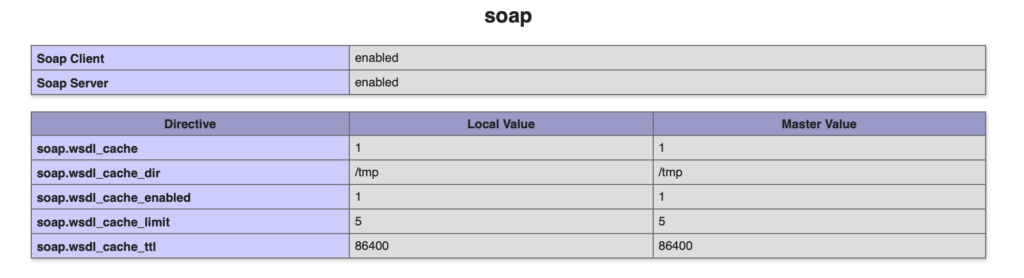 SOAP PHP extension phpinfo
