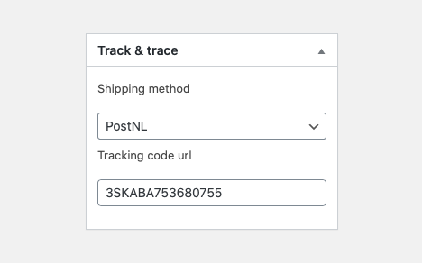 WooCommerce track and trace Postnl