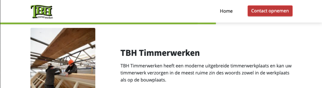 menu item html in WP voorbeeld