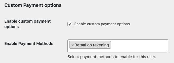 Betaalopties per gebruiker instellen WooCommerce