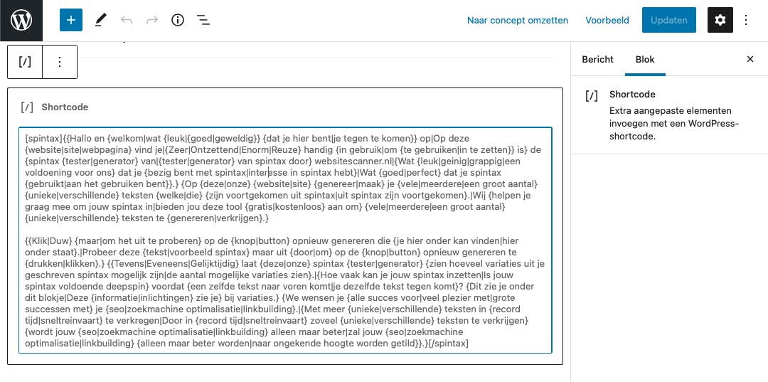 Spintax WordPress Gutenberg