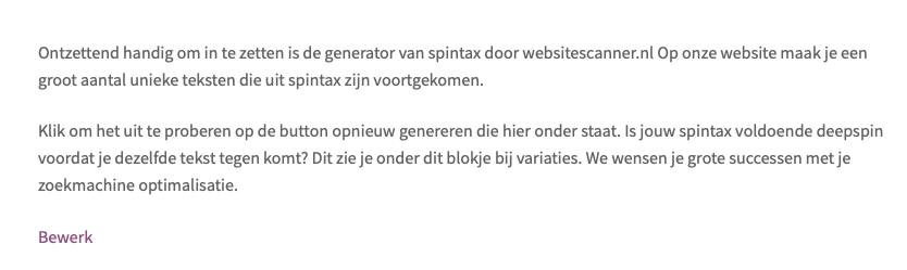 Resultaat spintax editor